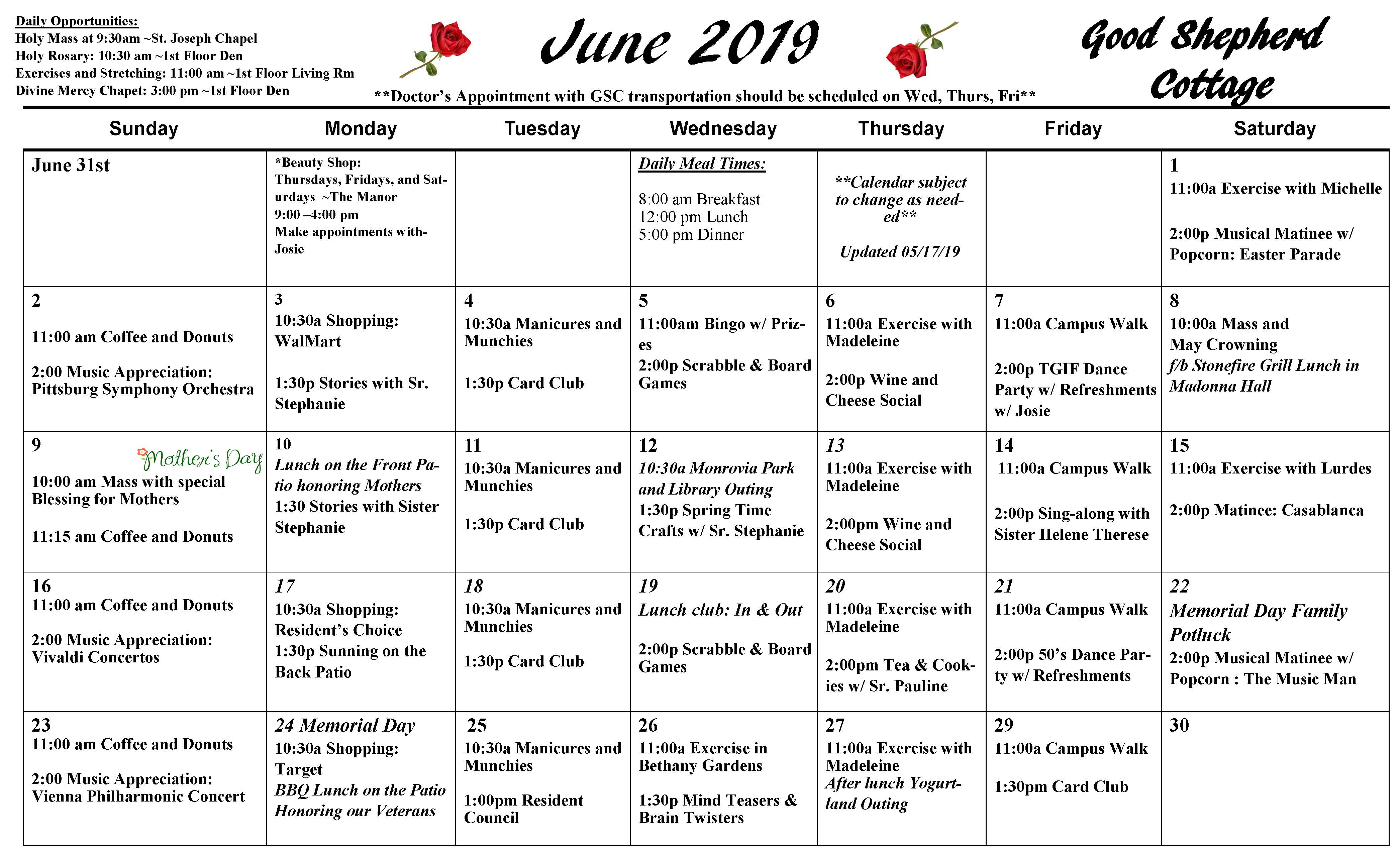 Good Shepherd Cottage Calendar